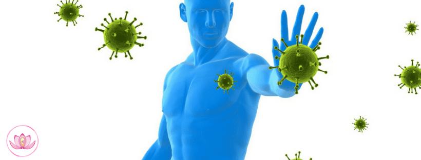 uomo fermando i virus
